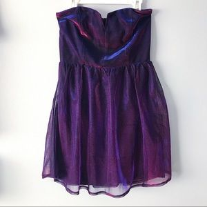 Purple Sheen Strapless Dress